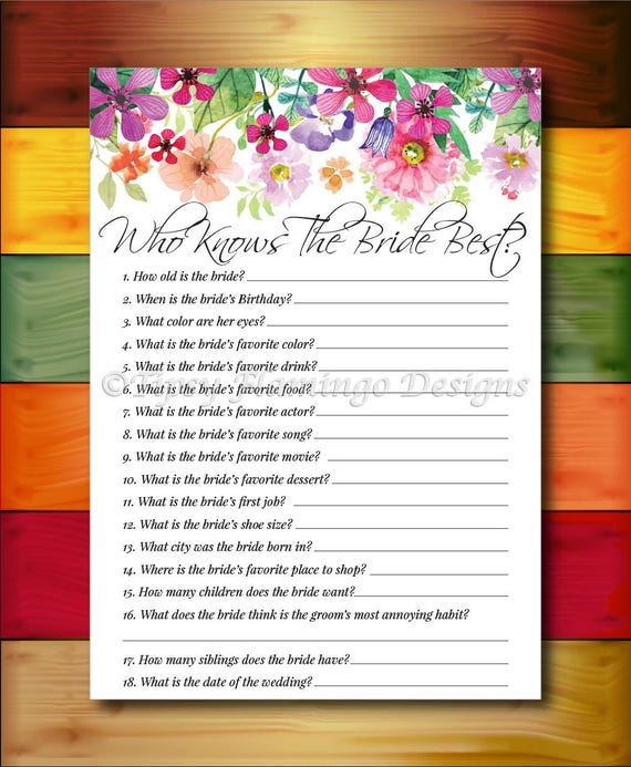 Bridal Shower Game Who Knows The Bride Best Floral Bridal