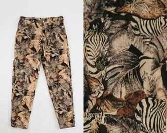 Vintage 1990s Zebra & Foliage Print Pants - Animal Print - Leaf Pattern - Tan - Women's 14 Large  - Ready to Wear
