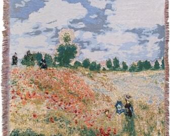 Monet Throw Blanket - Poppies Tapestry Throw - 56x56 Belgian Tapestry Throw - Monet Design Throw Blanket - TT-7149