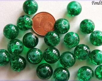 20 perles verre craquelé rond 10mm Vert Emeraude DIY création bijoux