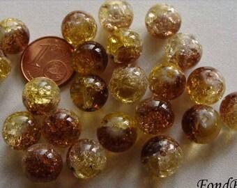 20 perles verre craquelé rond 10mm Bicolore Marron DIY création bijoux