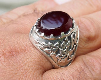 antique handmade Silver Carnelian stone turkmen statement AQEEQ  ring from Afghanistan No:436