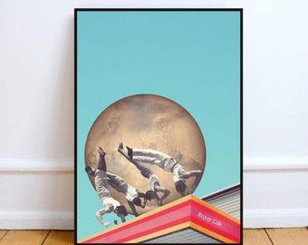 "minimal print, collage art, surreal art print, planet art print, original collage, mixed media collage art, vintage collage - ""Enjoy life""."