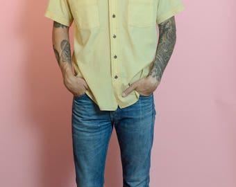 Vintage 70s Big Collar Button Up Short Sleeve Shirt Yellow L