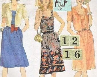 1980s square neckline summer dress, sundress Sewing Pattern/ McCall's 7506 Womens tied waist sundress, jacket/ Size 12 14