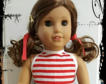 18 inch Doll Dress - Fit American Girl Dolls- Handmade Dress -  Stars and Stripes - Patriotic dress
