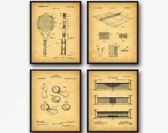 Set of Tennis Posters Tennis Wall Art Tennis Decor Tennis Ball Tennis Print Tennis Racket Tennis Court Art Wimbledon Art  WB103