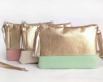 Chic Purse Gift for her Crossbody bags Gold Girlfriend gift Tassel Hadbags Clutch purse Bags For women Metallic