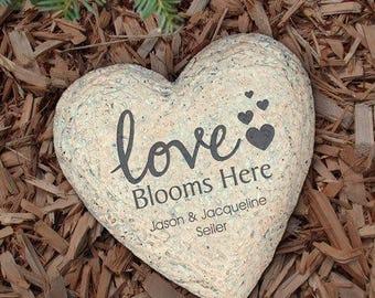 Personalized Garden Stone Love Blooms Here Decorative SMALL Garden Stone
