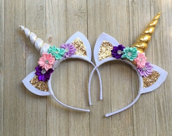 Pastel Unicorn headband - pink purple lavender gold - unicorn gift for girls - unicorn hair band - felt unicorn headband - unicorn horn
