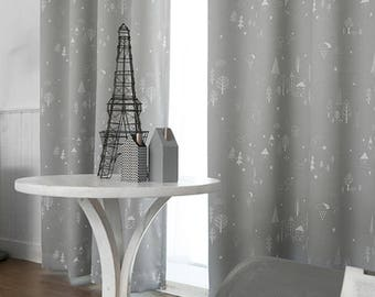"92""L Grey Adorable Printing Blackout Curtains Grommet Kids Curtains"