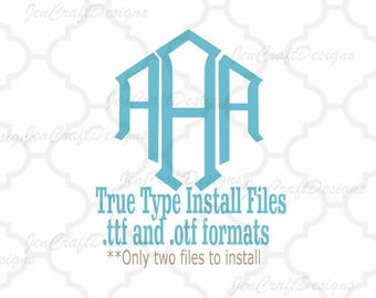 Diamond Monogram Font in True Type format .TTF & .OTF Installable Font for Cricut, Design Space, Microsoft Word and more