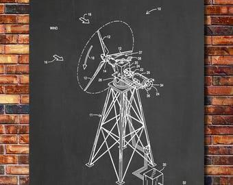 Wind Turbine Patent Print Art 1994