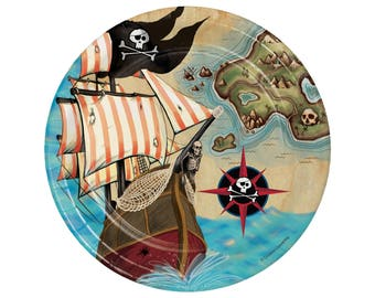 Pirate Plates - Pirate Birthday Supplies - Pirate Party Supplies - Pirate Birthday - Pirate Party Decorations - Ahoy Matey - Pirate Ship