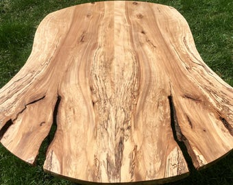 SALE and Free Shipping!!**  Incredible Reclaimed Live Edge Spalted Yellow Birch Round Slab Coffee Table