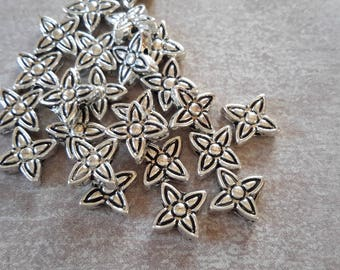 20 pcs, flower spacer beads, silver - Metal beads 6 x 2 mm