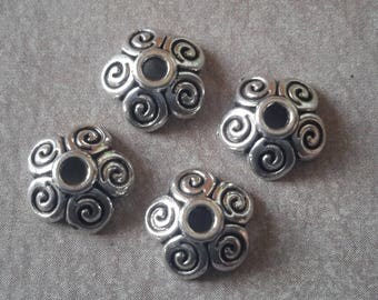 10 pcs, bead caps, cups flowers, ethnic bead caps, brass end caps beads, silver, 10 x 3 mm