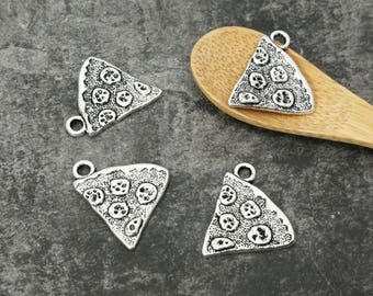 Charm part of pizza, food kitchen, 19 x 18 mm silver Metal charms