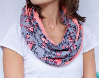 Gray Floral and Solid Coral Infinity Scarf