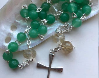 Handmade Anglican Rosary, Sterling Silver, Green Aventurine, Rutilated Quartz, Episcopalian, Lent, Easter, Confirmation, Free Ship USA