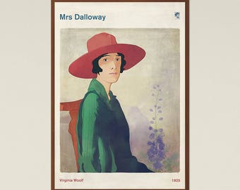 """Virginia Woolf """"Mrs Dalloway"""" - Literary Book Cover Print Large, Classic Literature Poster, Bookish Gift, Feminist Art, Instant Download"""