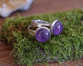 Amethyst ring Natural Stone Ring gemstone ring witchcraft witch ring purple ring women ring gift ring crystal ring jewelry purple stone