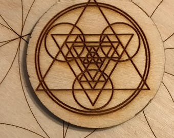 Sacred Geometry Wood Magnet - 2 inches  - Triangles and Circles