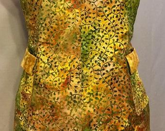 Homemade Gold and Green Vines Bib Apron