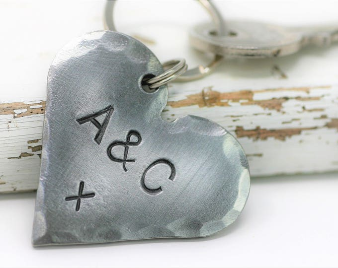 Iron Heart Keyring with Your Choice of Text