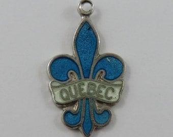 Enamel Quebec Fleur De Lis Sterling Silver Vintage Charm For Bracelet