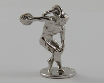 Discobolus (Discus Thrower) Sculpture Sterling Silver Vintage Charm For Bracelet