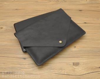 Macbook Black Genuine leather Sleeve,Macbook Pro 13 2017 case, Macbook Air case, Macbook Air sleeve, Macbook Pro case, Macbook Pro sleeve