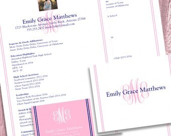 digital printable sorority recruitment packet with photo and resume added