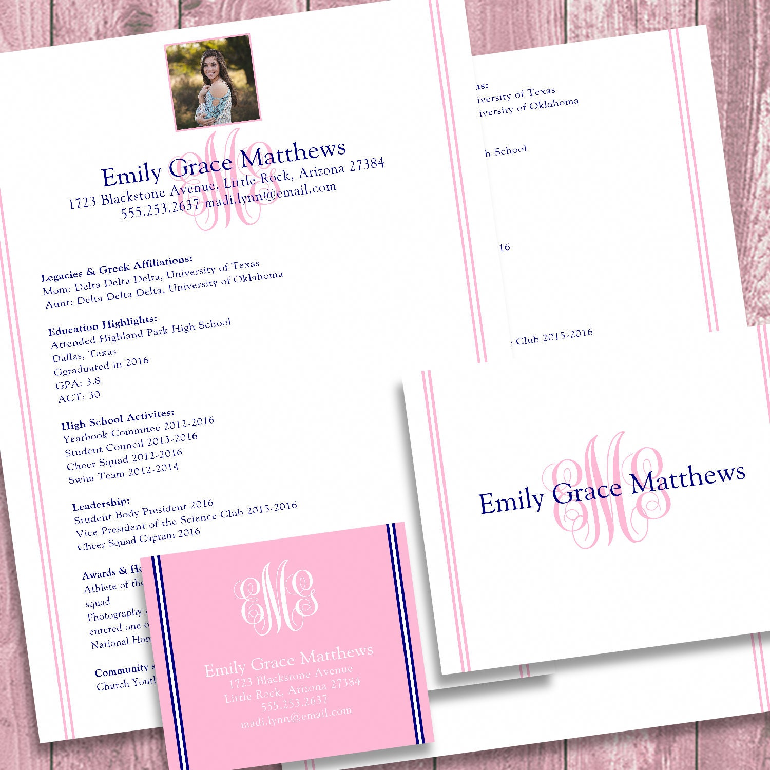 Digital Printable Sorority Recruitment Packet With Photo And Resume Added  Sorority Recruitment Resume