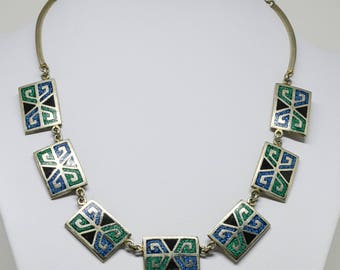 Lovely Silver Tone and Enamlel Necklace