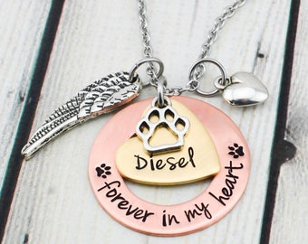 Hand Stamped Pet Memorial Necklace - Personalized Pet Memorial Jewelry - Pet Remembrance Necklace - Loss of Pet Necklace - Pet Loss Gift