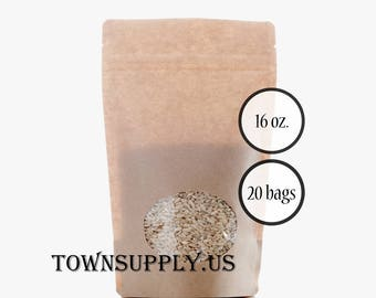 20 - 16 oz Kraft paper stand up pouches, clear oval window, food grade bags, product packaging, resealable zipper, recloseable party favors