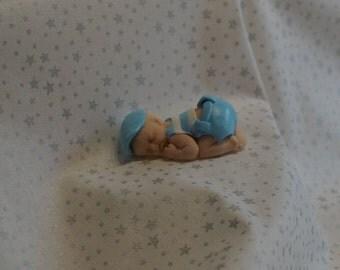 baby boy dressed in blue polymer clay