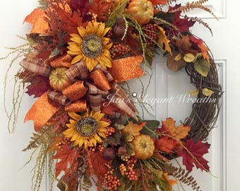 Large Fall Wreath, Sunflower Wreath, Floral Wreath, Elegant Fall wreath, Front door Wreath, Wreath with Sunflowers, Fall Porch Wreath