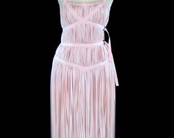 Prada dress, pink jersey goddess, avant garde, corset straps, editorial couture runway gown, pale blush