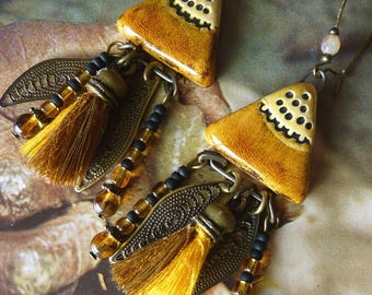 "Ethnic earrings ear ""Khartoum"", handcrafted ceramic, glass beads, metal bronze, tassels."