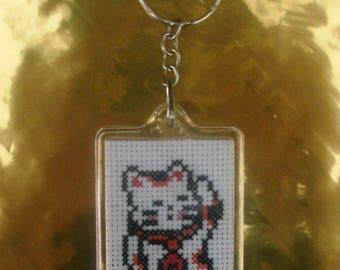 Maneki Neko cat hand embroidered lucky keychain