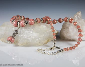 Rhodochrosite and  Sterling Silver Necklace