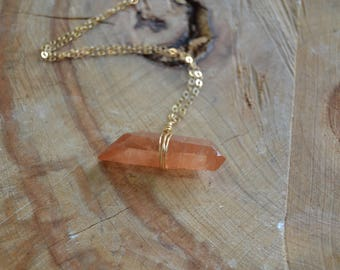 Raw Tangerine Quartz Necklace // Gold Fill // Natural Orange Crystal // Creativity // Sacral Chakra // Sexual Energy // Playfulness