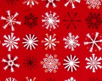 Snowflake Traditional Metallic Snowflakes Christmas Holiday Winter Festive Cotton Fabric by Makower