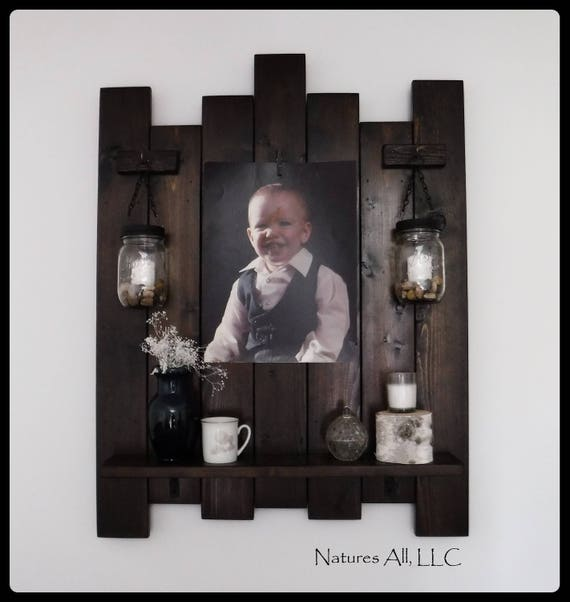 Farmhouse Wall Shelf/ Picture Frame With Mason Jar Lanterns/Farmhouse Decor/Rustic Country Wall Shelf/Large Picture Frame/Dark Walnut