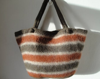 brown felt shopper, felt market bag, brown handbag, knitted felt bag, brown striped bag, striped shopper, striped felt bag, brown shaded bag