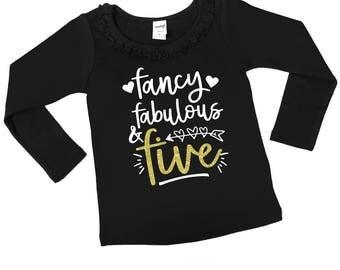 Fancy Fabulous and Five - Five Year Old Birthday Shirt - 5th Birthday - FIVE - Glitter Birthday - Ruffle Collar Long Sleeve - Unisex Long SL