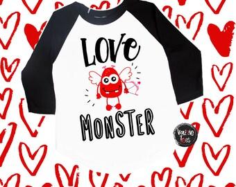 Love Monster Valentine Shirts - Unisex Kid's Valentine Shirts - Valentine Monster - Cupid Monster - Holiday Shirts - VDAY Shirts - Monster