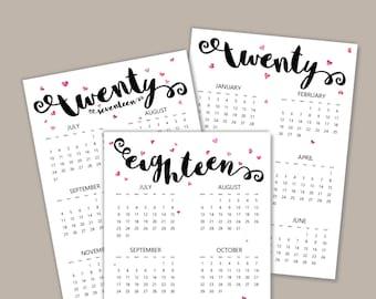 A5 July 2017 - December 2018 Printable Calendar   6 months per page   A5 Filofax Calendar   A5 2018 Planner Pages